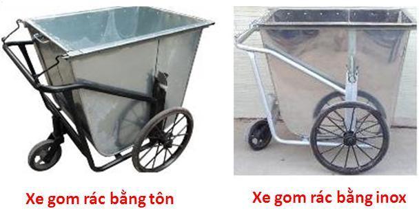 xe thu gom rác bằng tôn, inox